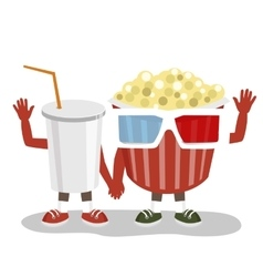 cinema pop corn and cola character friends vector image vector image