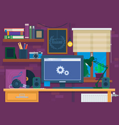 creative office interior in loft spacemodern vector image