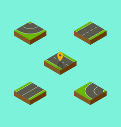 Isometric road set of navigation road way and vector