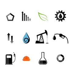 Oil Industry Icon Set vector image vector image