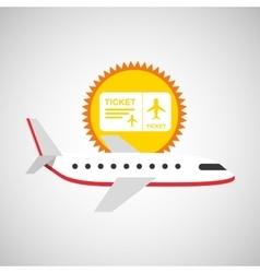 plane white sun symbol travel ticket design vector image