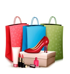 Red shoes and cosmetics with colorful shopping vector image vector image