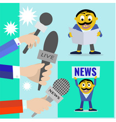 reporters with microphones of radio and vector image vector image