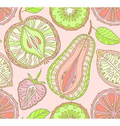 Seamless fruits pattern Abstract background with vector image vector image