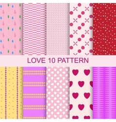 Set 10 patterns romantic love seamless vector