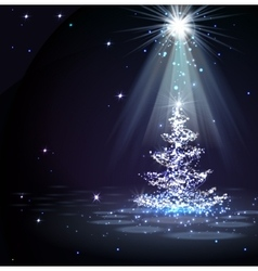 The Magic Christmas Tree in spotlight vector image