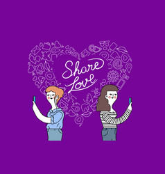women friendship and love internet concept design vector image vector image