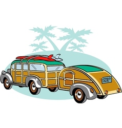 Wooden Station Wagon with trailer vector image