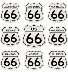 complete route 66 signs collection vector image vector image