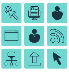 set of 9 online connection icons includes send vector image vector image