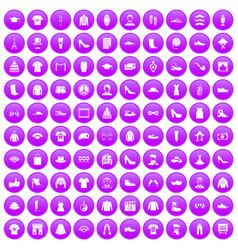 100 fashion icons set purple vector