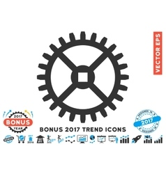 Clock Gear Flat Icon With 2017 Bonus Trend vector image