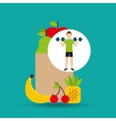 Man barbell lift exercising bag health food vector