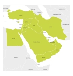 Map of middle east region vector