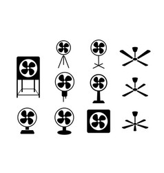 set electric fan icon in silhouette style vector image vector image