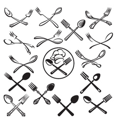 set of spoon and fork vector image vector image
