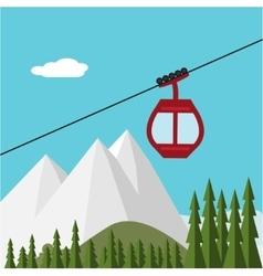 Ski lift gondola snow mountains forest vector