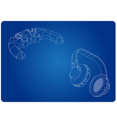 3d model of joystick and headphones on a blue vector image
