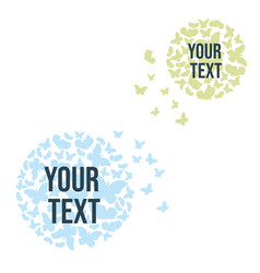 A circle from a cloud butterflies text block vector