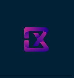 Abstract purple bx logo design template vector