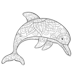 adult coloring bookpage a cute dolphin with vector image
