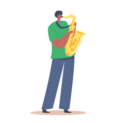 African sax player blowing musician composition vector