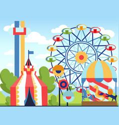 Amusement park fun park theme kids vector