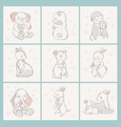 animal set family character vector image