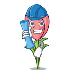 Architect crocus flower character cartoon vector