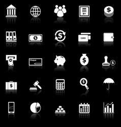 Banking icons with reflect on black background vector