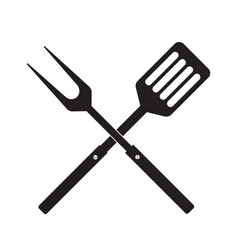 Bbq or grill tools icon crossed barbecue fork vector