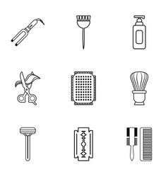 beauty salon stuff icons set outline style vector image