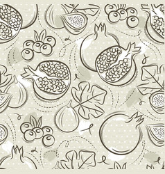 Beige seamless patterns with pomegranate fig and vector