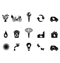 black environment icon set vector image