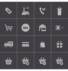 black shopping icons set vector image