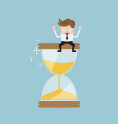 Businessman sitting on hourglass business time vector