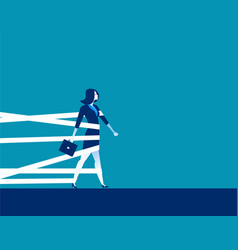 businesswoman being held back by tape concept vector image