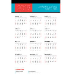 Calendar for 2019 year week starts on sunday vector