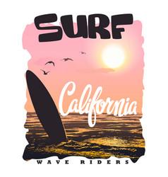 california surf typography t-shirt graphics vector image
