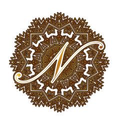 Capital letter n alphabet as a monogram vector