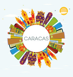 caracas venezuela skyline with color buildings vector image