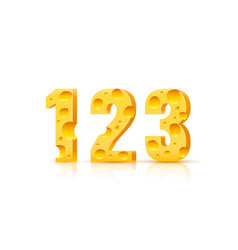 Cheese font 3d symbol numbers 1 2 3 set vector