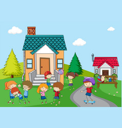 children playing at rural house vector image