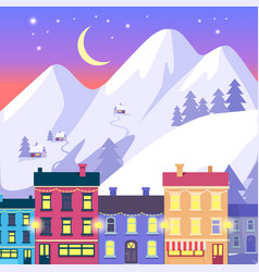 Christmas small town on high mountains background vector