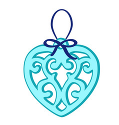 christmas toy in the form of a blue heart with vector image