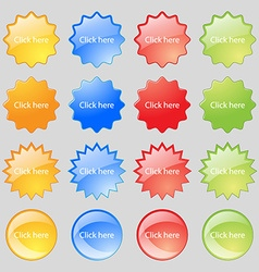 Click here sign icon Press button Big set of 16 vector