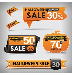 Collection of Halloween web tag banner promotion vector image