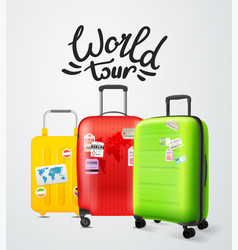 Color modern plastic suitcases with lettering vector