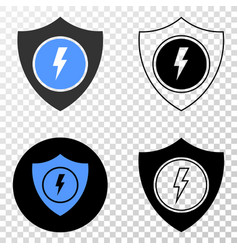 electric shield eps icon with contour vector image