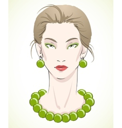 Elegant young model portrait with green beads vector image